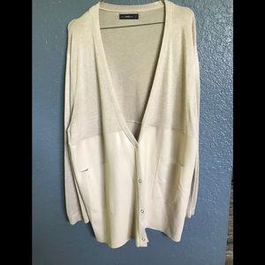 Zara imitation leather and cotton cardigan